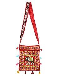 Rajrang Indain Designs Elephant Printed Cotton Embroidered Work Red Sling Bag
