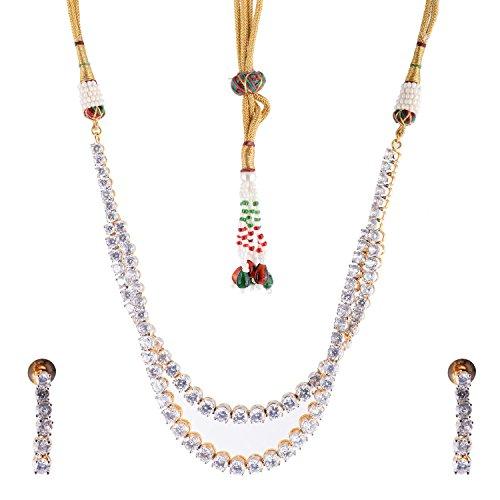 Bharat Sales Style Diva White Alloy Necklace Set For Women - B00YPASUU8