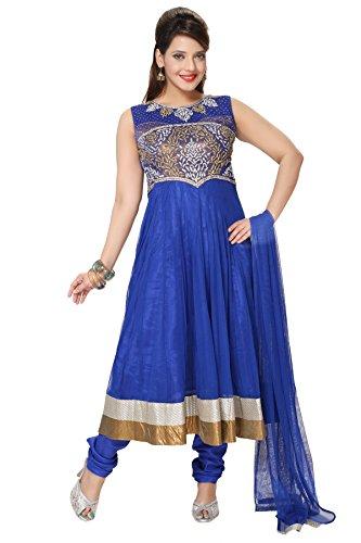 Divinee Royal Blue Art Silk Shimmer And Net Readymade Anarkali Suit