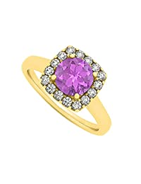 Amethyst And CZ Square Halo Fashion Engagement Ring In 18K Yellow Gold Plated Vermeil Trendy Design