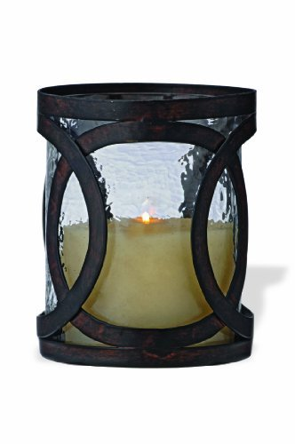 Foreside Home And Garden Metal And Glass Wedding Ring Hurricane Candle Holder Small
