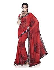 Aadarshini Women's Chiffon Saree (4079, Red)