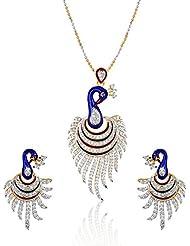 Multiline Company Trendy American Diamond Pecock Pendant Set For Women
