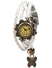 Felizer New Look Butterfly Bracelet Vintage Multi Strap Fashionable Latkan Watch For Women & Girls (White)