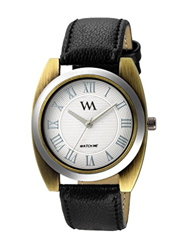 Watch Me Analog White Dial Black Leather Strap Watch For Boys WMAL-244