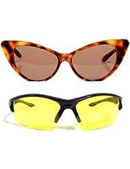 New Stylish UV Protected Combo Pack Of Sunglasses For Women / Girl ( BrownCateye-YellowNightVision ) ( CM-SUN-...