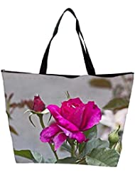 Snoogg Dark Pink Rose Flower Waterproof Bag Made Of High Strength Nylon