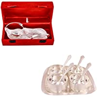 Silver Plated Duck Tray With Spoon And Silver Plated Premium 4 Bowl Set With Rectangle Tray