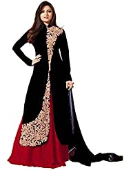 AnK Black Banglori Silk Embroidered Semi Stitched Long Indo Western Salwar Suit