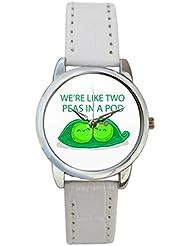 Bigowl We're Like Two Peas In A Pod Analog Women's Wrist Watch 2003795903-RS3-S-WHT