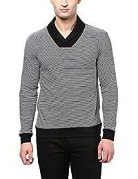 Hypernation Black And White Stripe Shawl Collar Cotton T-shirt For Men