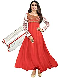Surat Tex Red Colored Faux Georgette Embroidered Traditional Wear Semi-Stitched Anarkali Suit-J615DL104