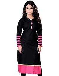 Clothfab Women's Cotton 3/4 Sleeve Plain Solid Casual Kurti Size : XL (Black Pink)