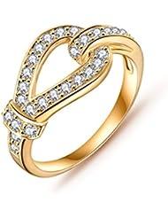 Jewels Galaxy Luxuria Princess Wedding Top Grade Rings Gold Plated AAA Zircon Fashion Jewellery Rings