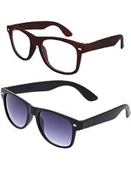 Sheomy Unisex Combo Pack Of Transparent Brown Wayfarer Sunglasses And Black Wayfarer Sunglasses For Men And Women...