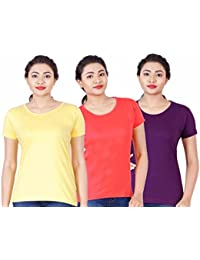 Fleximaa Women's Cotton Round Neck T-Shirt Plain (Pack Of 3) - Yellow, Purple & Coral Red Colors.