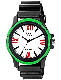 Watch Me White Dial Black Sports Strap Sports Watch-Green For Men And Boys -232twm