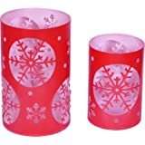 Sutra Decor Perforated Candle Holder (Red, Pack Of 2)