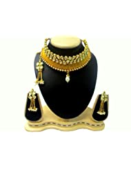 White Kundan & Stone Gold Plated Necklac Earring With Maang Tikka Bridal Set Indian Wedding Jewellery