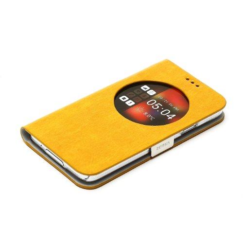 【日本正規品】Zenus GALAXY S5 (SC-04F / SCL23)ケース Masstige Z-View Maple Diary (マステージゼットビューメープルダイアリー) 合成皮革 ポリカーボネート スチール ウィンドウ付き Z-viewアプリ必要 マグネット留め具 カードポケットなし (イエロー(Z3618GS5))