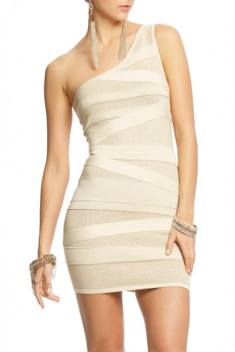 Bebe 2b One Shoulder Lurex Stripe Bandage Dress CHAMPAGNE GLITZ Size Large