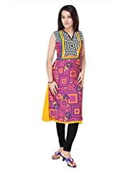 ADS Womens Digital Print Pink Kurti/Tunic