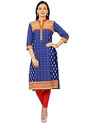 Rama Designer Blue & White Color Floral Print Embroidered Kurti