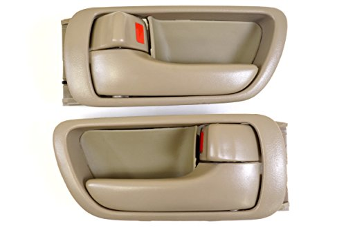 PT Auto Warehouse TO-2469E-DS – Inside Interior Inner Door Handle/Trim, Beige/Tan – Left/Right Pair