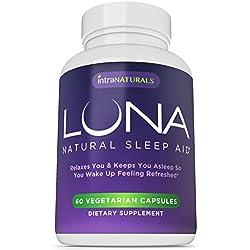 LUNA - 60 Vegetarian Capsules - #1 Natural Sleep Aid on Amazon - 100% Herbal & Non-Habit Forming Sleeping Pill (Made with Valerian, Chamomile, Passionflower, Lemon Balm, Melatonin & More!) - IntraNaturals Lifetime Guarantee