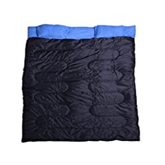Outsunny 86 x 59 Two-Person Double Wide Sleeping Bag - Blue / Black