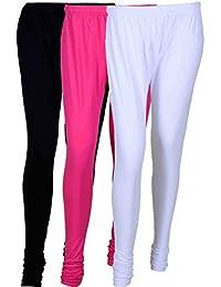 Fashion And Freedom Women's Cotton Leggings Pack Of 3_FFCL_BM1W_BLACK-MAGENTA-WHITE_FREESIZE