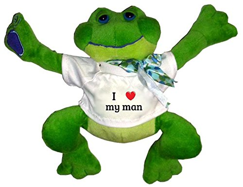 Plush Frog Toy in t-shirt with I Heart my man