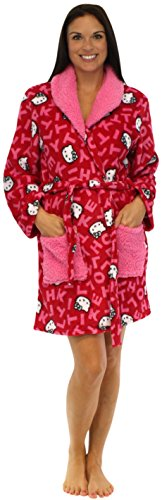 Hello Kitty Tossed Letters Fleece Collared Robe - LRG