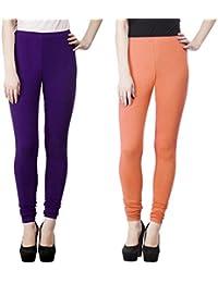 SPK Impact Women`s RUBY-CUT PURPLE-PEACH Cotton Lycra Fitt Leggings - B06Y4TNPHL