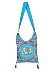 Rajrang Womens Elephant Printed Cotton Embroidered Work Turquoise Sling Bag