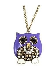 Ammvi Creation Mr. Purple Plump Owl Necklace For Women