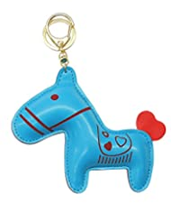 Young & Forever Racing Horse Handmade Leather Bag Charm Key Ring & Keychain Blue By CrazeeMania