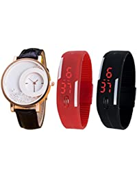 Jack Klein Combo Of Leather And Silicone Strap Analog And Digital Wrist Watches For Men, Women - B01FVPO5X6