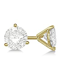 14K Yellow Gold Over .925 Silver Round CZ Diamond 3-Prong Martini Setting In Anniversary Stud Earrings For Women's