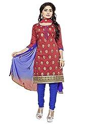 Divya Emporio Unstitched Cotton Silk Salwar Suit Dupatta(DE-011_Red)
