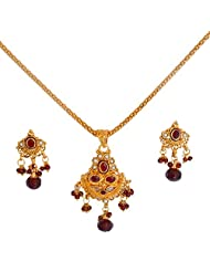 Divaz Bridal Red And Gold Color Necklace Set With Earring For Women