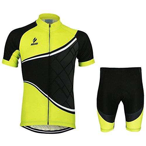 iPretty Set Traje Pantalón de Ciclismo MTB Maillot de Bici Jersey para Ciclista Mangas Cortes Transpirable Amarillo Talla L