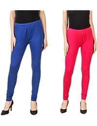 PRASITA Fashion Women's Cotton Lycra Churidar Leggings Pack Of 2(BLUE/PINK)
