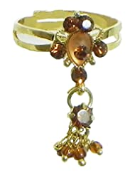 Rusr And Maroon Stone Studded Jhalar Adjustable Ring - Stone And Metal