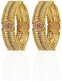 Jewels Gold American Diamond Gold Plated Fashion Designer Bangle Set (Set Of 2)