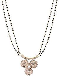 Jewelstone 22K Gold & Rhodium Plated Mangalsutra With American Diamonds & Earrings