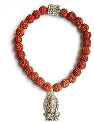 Rudraksha Bracelets Ganesha Charm 5 Faced 5 Mukhi Small Rare Original Rudraksh Jewellery Alloy Bronze Colored...
