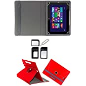 """Hello Zone Exclusive 360° Rotating 7"""" Inch Flip Case Cover Book Cover For Lenovo Tab 3 A710F Tablet -Red + Free..."""