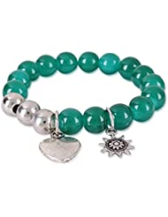 Trendy Baubles Emerald Green Bracelet With Heart Charm For Women