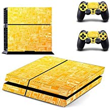 Banggood Yellow Tech Skin Sticker For PS4 Playstation 4 Console Controller Decal Set